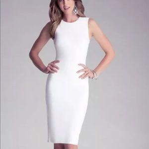 Bebe Sleeveless White Midi Dress Bodycon XS
